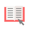 book and arrow cursor online education concept vector image vector image