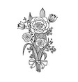 bouquet flowers drawn vector image
