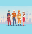 builders and engineers background cartoon factory vector image