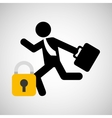 businessman silhouette running secure vector image