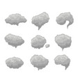 cartoon grey smoke fog set vector image vector image