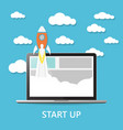 concept project start up - launch on blue vector image
