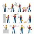 construction workers cartoon builders in helmet vector image