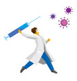 coronavirus concept - doctor throwing a syringe vector image vector image