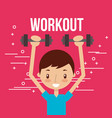 cute boy training with dumbbells fitness vector image vector image