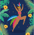 cute girl dancer with flowers and branches leaves vector image