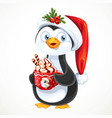 cute penguin in santa hat with a big cup with vector image