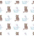 cute rabbits and cat flat seamless pattern vector image vector image