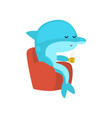 dolphin sitting in armchair and drinking tea vector image vector image