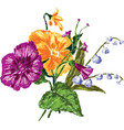 drawing of a small bouquet of flowers all flowers vector image vector image