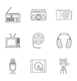 Electronic equipment icons set outline style vector image vector image