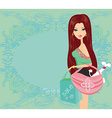 fashion girl with dog in her bag Shopping vector image vector image