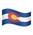 flag of colorado waving on white background vector image vector image