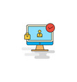 flat avatar on monitor icon vector image vector image