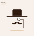 gentleman with a mustache wearing a hat and a mono vector image