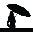 girl with umbrella black illutration vector image vector image