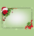 green christmas background with decorations vector image