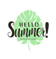 hello summer lettering typography tropical vector image vector image