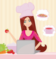housewife looking in laptop during dinner vector image vector image