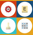 icon flat entertainment set of chip chess tic vector image vector image