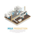 industrial dairy production background vector image vector image