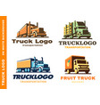 logo set with truck and trailer vector image vector image