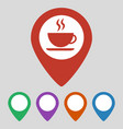 map pointer with coffee cup on gray background vector image