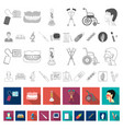 medicine and treatment flat icons in set vector image vector image