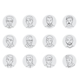 Men avatar set thin line vector image