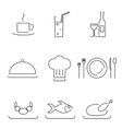 Modern Line Chef Restaurant Food Cuisine Icons and