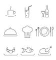 modern line chef restaurant food cuisine icons vector image