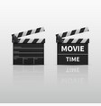 movie clapperboard or film clapper isolated on vector image