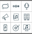 music icons set with megaphone microphone vector image vector image