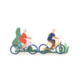 old couple on bikes elderly activity grandmother vector image vector image