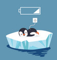 penguin tired with battery vector image