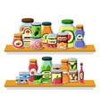 preserved food products in cans flat vector image vector image