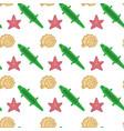 sea shell star fish seamless pattern vacation vector image vector image