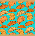 seamless pattern with cartoon croissants and buns vector image vector image