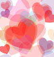Seamless transparent multicolor hearts pattern vector image vector image