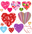 Set colorful valentine hearts vector image vector image