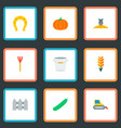 set of agriculture icons flat style symbols with vector image