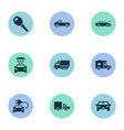 set of simple automobile icons vector image vector image