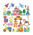 set of various colorful children s toys vector image