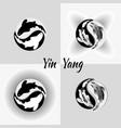 set pattern of yin yang koi fish vector image