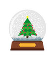 snow globe christmas glass ball background winter vector image vector image