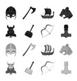 viking in helmet with horns mace bow with arrow vector image