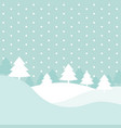 winter hills scene with xmas fir trees and vector image