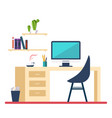 workplace in room flat minimalistic style vector image vector image