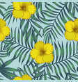 yellow hibiscus leaves blue tone seamless vector image vector image