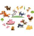 set of cartoon farm animals vector image